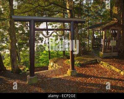 Takahara Kumano-jinja shrine in village of Takahara onKumano Kodo Pilgrimage Route, Kii Mountains,  Wakayama Prefecture, - Stock Image