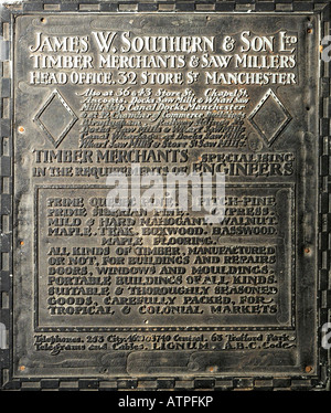 Zinc and Wood Printing Block Plate digitally laterally rotated to show advertisement for James W Southern & - Stock Image