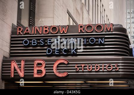 Rainbow Room, Observation Deck, NBC Studios, Rockefeller Center, Manhattan, New York City, New York, USA - Stock Image
