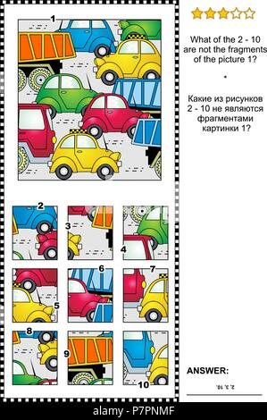 IQ training abstract visual puzzle with cars and trucks on the road: What of the 2 - 10 are not the fragments of the picture 1? Answer included. - Stock Image