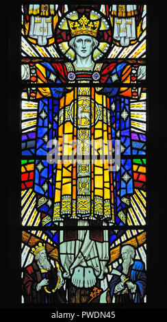 The Risen Christ. Detail of window.Church of Saint Mark, Natland, Cumbria, England, United Kingdom, Europe. - Stock Image