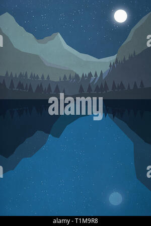 Moonlight shining over tranquil mountain lake - Stock Image