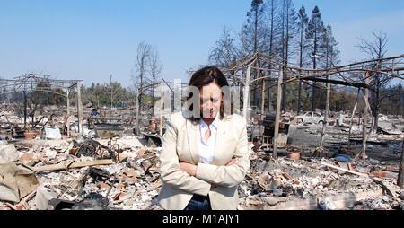 U.S. Sen. Kamala Harris surveys the damage caused by the wildfires in Santa Rosa, California, on Oct. 14, 2017 (Army - Stock Image