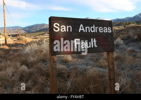San Andres fault sign Valyermo Calfornia - Stock Image