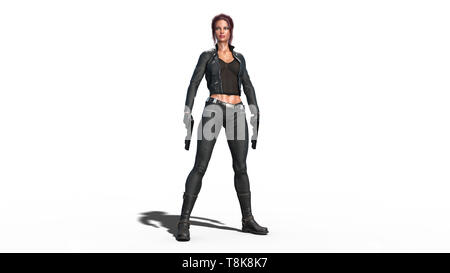 Action girl standing with guns, redhead woman in leather suit with hand weapons isolated on white background, 3D rendering - Stock Image