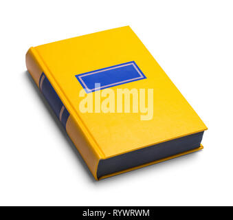 Old Closed Yellow Book Isolated on White. - Stock Image