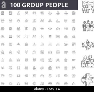 Group people line icons, signs, vector set, outline illustration concept  - Stock Image