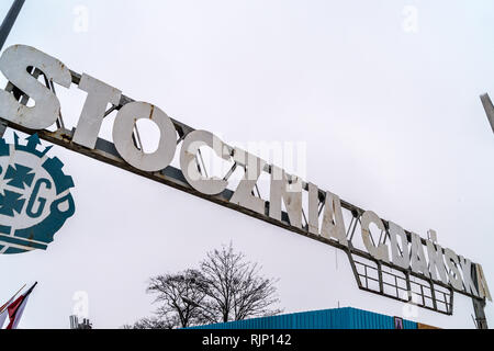 Entrance sign to Gdansk shipyard, European Solidarity Centre museum, Plac Solidarności, Gdańsk, Poland - Stock Image