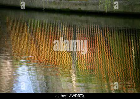 Reflections in Water Regents Canal London - Stock Image