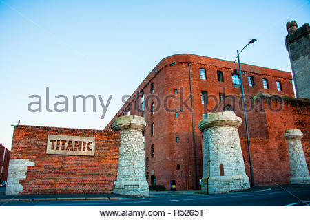 Titanic Hotel in Liverpool at Dusk, part of the development of the historic 19th Century Stanley Dock complex - Stock Image