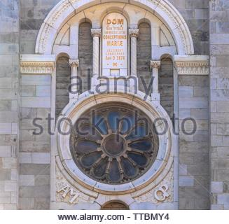 Montreal, Quebec, Canada-May 29, 2019: The Church of the Immaculate Conception  (Virgin Mary) in the Saint Catherine Street. Architectural detail. The - Stock Image