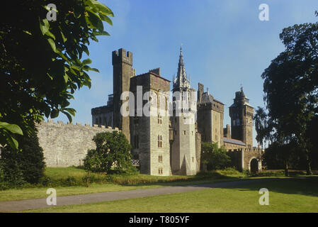 Cardiff Castle viewed from Bute park, Wales. Cymru. UK - Stock Image