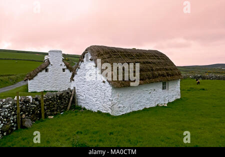 RS 8068  Harry Kelly's Cottage & Cowshed, Cregneash, Isle of Man, UK - Stock Image