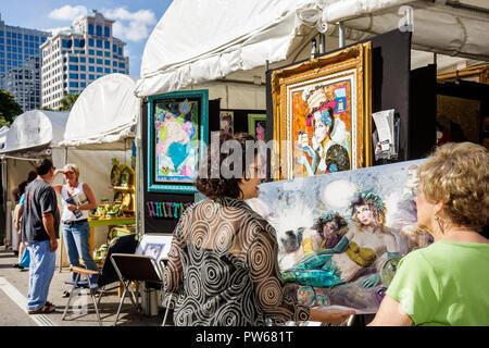 Fort Lauderdale Ft. Florida Las Olas Boulevard Las Olas Art Fair festival street fair community event art tent painting woman wo - Stock Image