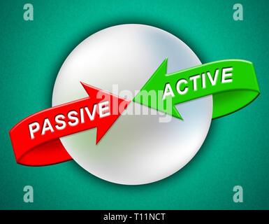 Active Vs Passive Arrows Show Positive Energy Attitude Or Negative Laziness 3d Illustration - Stock Image