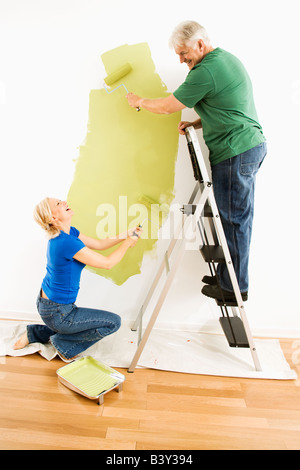 Middle aged couple painting wall green with male on ladder - Stock Image