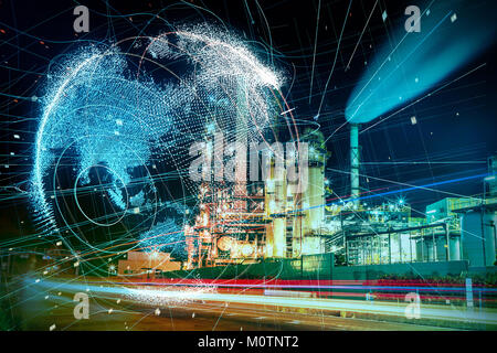 Modern factory and global communication concept. - Stock Image