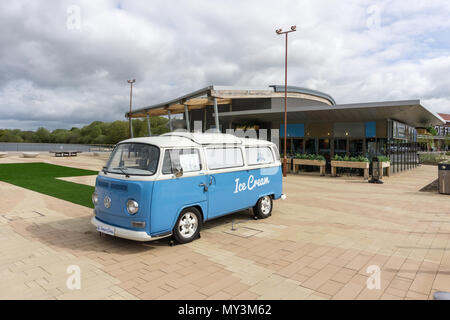 Old VW camper van converted to an ice cream kiosk; Rushden Lakes, Northamptonshire, UK - Stock Image