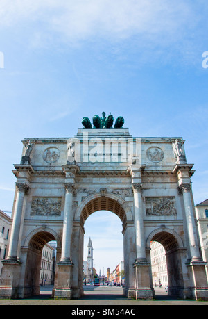 View through the Siegestor (Victory Arch), Munich - Stock Image