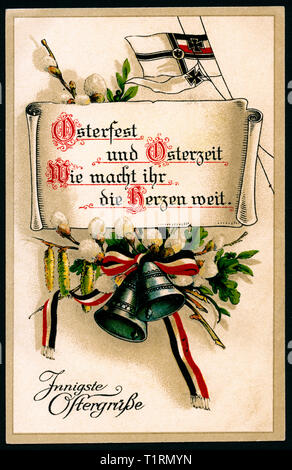 Germany, Berlin, WW I, propaganda, patriotic Happy Easter postcard, with the text ' Osterfest und Osterzeit, wie macht ihr die Herzen weit - Innigste Ostergrüße' (Easter wonderful for your feeling - warmest Easter greetings), together with daffodils and a black-white-red ribbon and the so called Reichskriegsflagge. , Additional-Rights-Clearance-Info-Not-Available - Stock Image