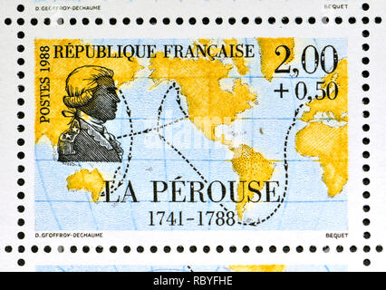 French postage stamp (1988): Navigators and Explorers series - Jean François de Galaup, comte de Lapérouse (1741 – 1788?) French Naval officer and exp - Stock Image