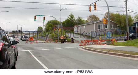 June 22, 2018- St. Johns Newfoundland- Summertime construction work by Mundy Pond Road - Stock Image