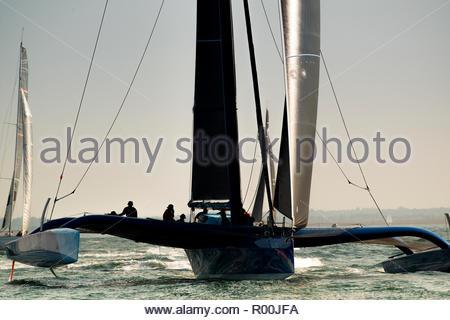 Trimaran at sea - Stock Image