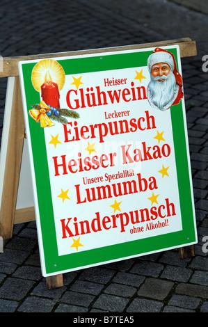 gluhwein eierpunsch hiesser kinderpunsch sign germany deutschland christmas markets travel tourism alcohol citybreaks - Stock Image