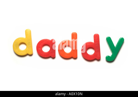 alphabet fridge magnets spelling daddy,words - Stock Image