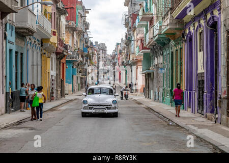Street Scene in Havana, Cuba. - Stock Image