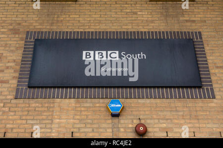 Black BBC South sign along Havelock Road in the city of Southampton, BBC, Hampshire, England, UK - Stock Image