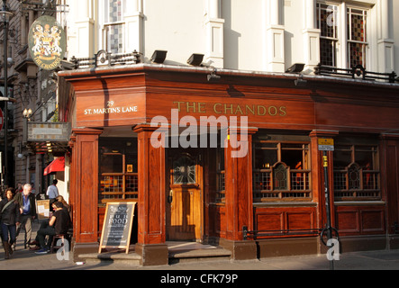 The Chandos Pub off  St Martins Place London - Stock Image