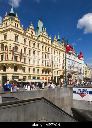 Kings Court Hotel and the subway entrance in Namesti Republiky, Prague - Stock Image