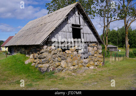 Old barn in island Kihnu. Estonia 5th August 2017 - Stock Image