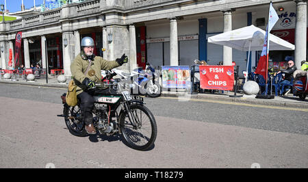 Brighton, UK. 24th March 2019. David Jones on his 1913 Ariel arrives in Brighton in the 80th Anniversary Pioneer Run for pre 2015 veteran motorcycles . The run organised by the Sunbeam Motor Cycle Club begins on the Epsom Downs in Surrey and finishes on Madeira Drive on Brighton seafront Credit: Simon Dack/Alamy Live News - Stock Image