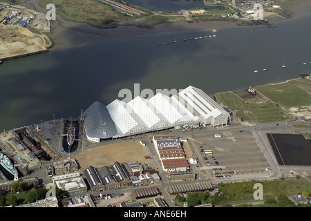 Aerial view of Historic Dockyard Chatham, on the banks of the River Medway in Kent - Stock Image