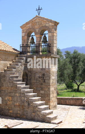 Bell tower of the old Agios Andreas monastery at Peratata on the island of Kefalonia, GRECCE, PETER GRANT - Stock Image