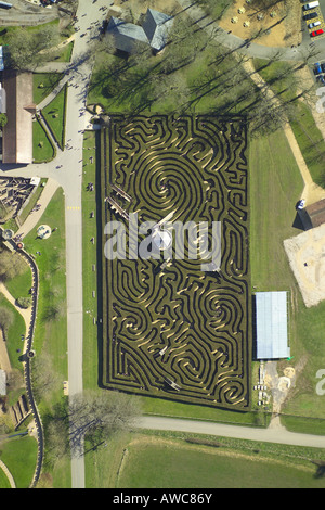 Vertical aerial view of the hedge maze at Longleat House - Stock Image