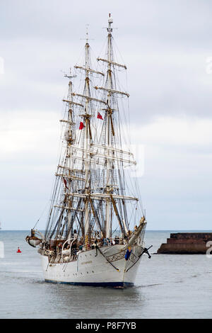 The Norwegian Full rigged three masted sail training ship Christian Radich arriving in Roker Harboir Sunderland for the Tall Ships Race 2018 - Stock Image
