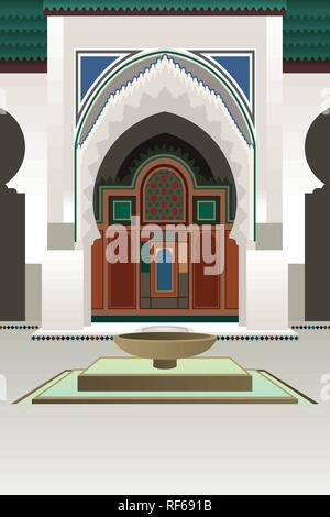 A vector illustration of University of Al-Quaraouiyine in Morocco - Stock Image