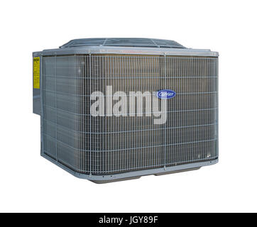 Carrier air conditioner on white background - Stock Image