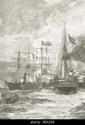 The reception of the French fleet at Portsmouth Fleet review, 28 August 1865 - Stock Image