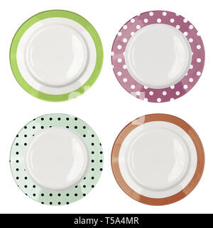 Set of empty color plates top view isolated on white - Stock Image