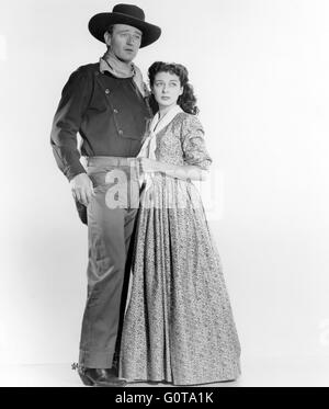John Wayne and Gail Russell / Angel and the Badman  / 1947 directed by James Edward Grant (Republic Pictures) - Stock Image