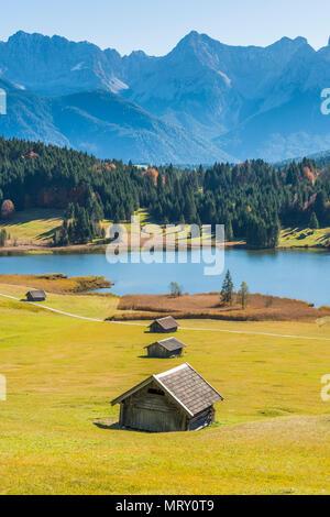 Gerold, Garmisch Partenkirchen, Bavaria, Germany, Europe. Gerold in autumn season, Karwendel range in the background - Stock Image
