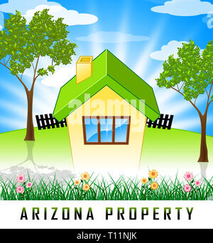 Arizona Real Estate Bungalow Shows Southwestern Property Or Broker In The Usa 3d Illustration - Stock Image