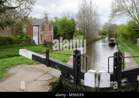 A Lock on the Llangollen Canal in Wales - Stock Image