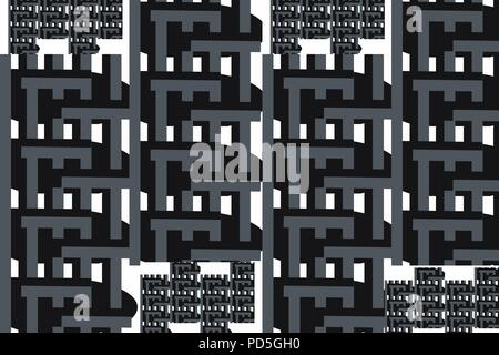 Criss crossing lines of black and grey against a white background in a strong built or technical look - Stock Image