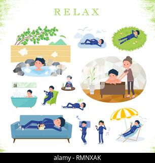 A set of school boy in sportswear about relaxing.There are actions such as vacation and stress relief.It's vector art so it's easy to edit. - Stock Image