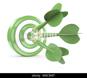 Green and white Dart Board with 3 geen dart arrows. 3D render. - Stock Image